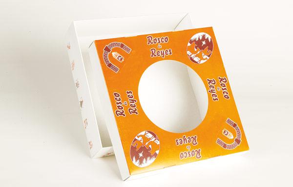 Bolo-rei com tampa montável, fundo microcanelado, fundo em cartolina