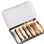 Pastas con interiores dorados (con separadores interiores dorados para colocar mini pastas)